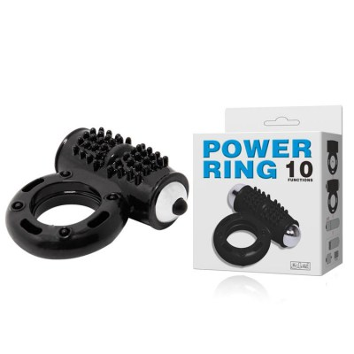 Эрекционное виброкольцо cock ring, powerful 10-function vibration, black, 2,8x6,5cm